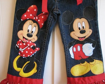 Custom Disney clothing  Minnie, Mickey  w 2 LARGER SIZE characters on the front .Hand Painted  jeans  Sz 18m  to 24 m, 2 to size 10