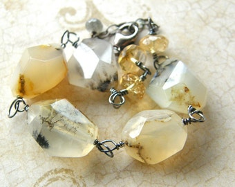 Chunky Agate Bracelet, Dendritic Agate Rough Cut Stone Bracelet, White Yellow Gold Bracelet, Boho Rustic Citrine Bracelet
