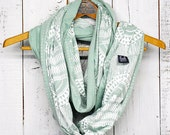 ONLY 1 LEFT - Okapi Infinity Scarf - Sea foam - modern hand printed jersey circle infinity scarf - by Bark Decor