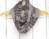Okapi Infinity Scarf - FEW LEFT - Gravel and Black - modern printed jersey infinity circle scarf - by Bark Decor