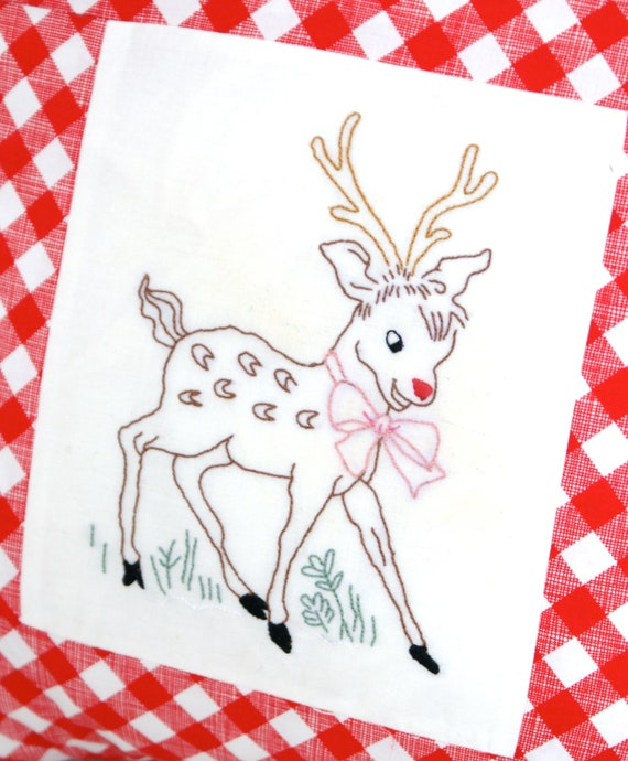 Rudolph Red Nose Reindeer Christmas Embroidery Pattern PDF