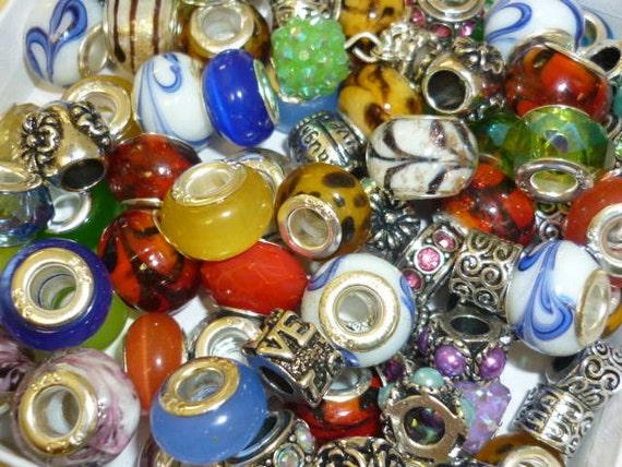 Grab BAG Pandora Style Beads 5 Beads Murano glass beads Crystal beads Spacer silver beads