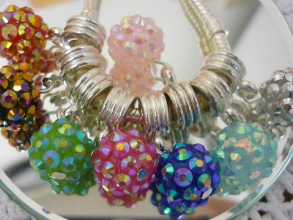 2 Sparkling Disco Bead pandora style Dangle Charm  set of 2