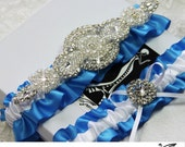 SOMETHING BLUE wedding garter set, bridal garters, keepsake garter, toss garter, rhinestone garter