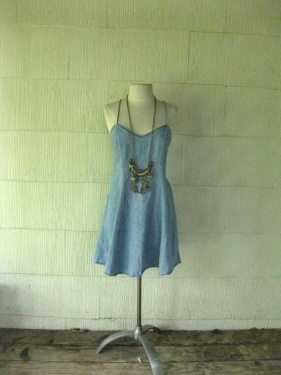VINTAGE denim grunge mini dress