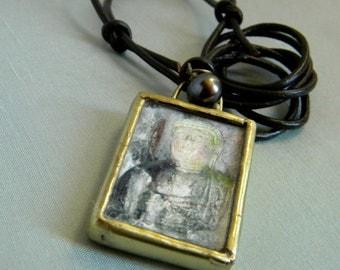 Buddha Necklace With A Pearl, Miniature Art, Metalwork Pendant, Wearable Art Jewelry, Meditation Jewelry, Buddha Jewelry, June Birthstone