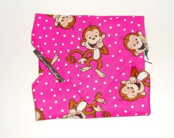 Reusable Sandwich Wrap PINKY Monkey / Eco Friendly  / Snack / Back to School / Lining Options