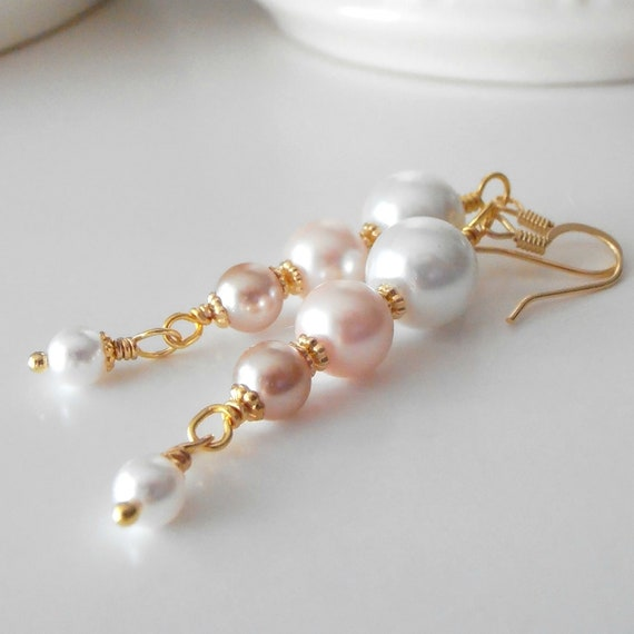 Bridal Jewelry, Beaded Pearl Dangle Earrings, White Pink Beige, Multi Color Drops, Wedding Accessories