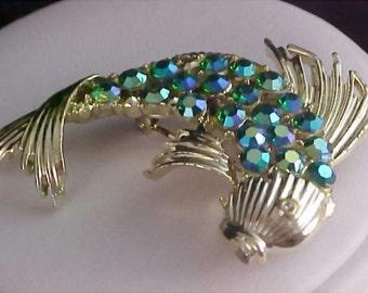Fabulous Aurora Borealis Unsigned CORO Fish Gold Plate Brooch