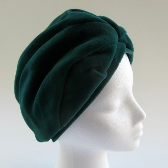 Vintage Green Velvet Turban Style Hat, 1960's