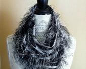 Scarf- Infinity- Unique- Black and White- Zebra- Soft Fringe Fabric- Fluffy- Texture