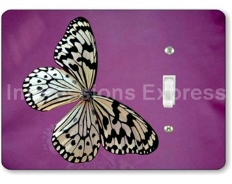 White Butterfly Insect Single Toggle Light Switch Plate Cover