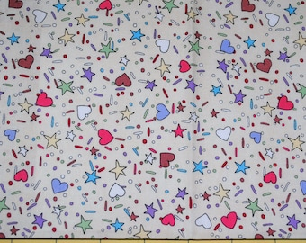 Fat Quarter Colorful Hearts Stars Confetti and Sprinkles Fabric