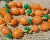 Vintage Fun Crackle Lucite Orange Fruit Salad Necklace West Germany