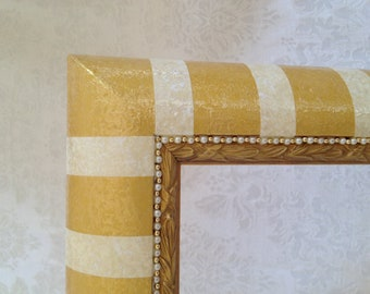 Painted Mirror with Gold  and Cream Stripes, One of a Kind