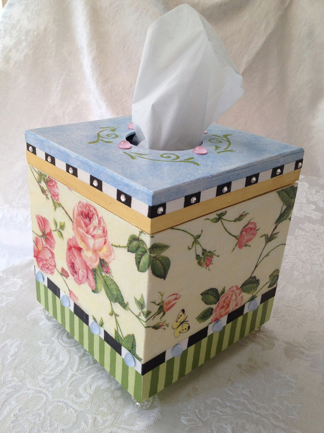 Tissue Box Holder Whimsical Style Painted And By