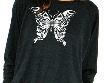 Butterfly - American Apparel Pullover -  Small, Medium, Large