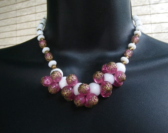 Vintage 50s CHUNKY Necklace Pink White And Gold Beads GLASS 1950s