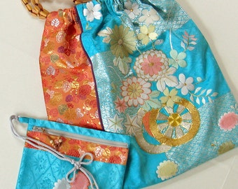 Japanese Kimono Over Size Gather Top Shoulder Bag-Turquoise Blue