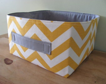 "10""x10""x6"" Fabric Basket - Diaper Caddy - Storage Bin - Toy Bucket - Nursery Decor - Gift Basket - You CHOOSE the Fabrics - Zigzag Chevron"