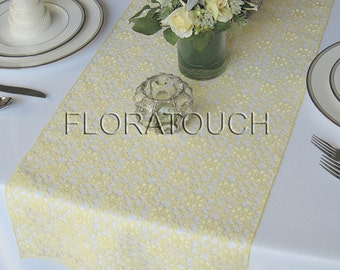 Light Yellow Lace Wedding Table Runner