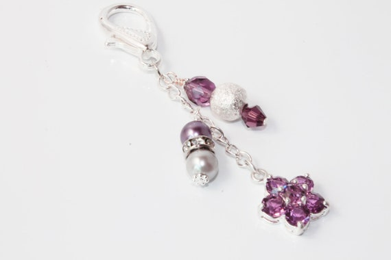 Purple Crystal Flower Beaded Purse Charm with Silver Plated Chain