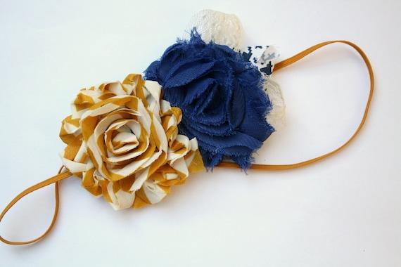 Shabby Mustard and Navy Flower Skinny Headband