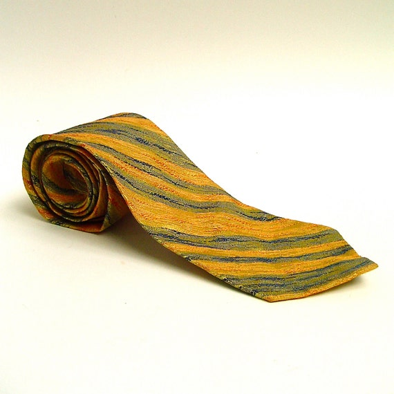 vintage Golden Mustard, Apricot and Olive Green Diagonal Striped Metallic Sheen Tie