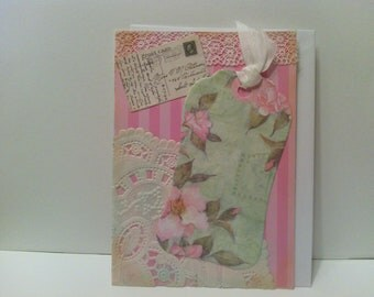 Get Well Lace Flowered Postcard Repurposed Card