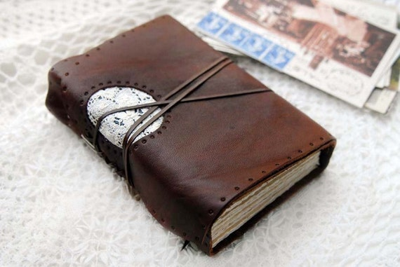 The Novelist - Rustic Brown Leather Journal with Tea Stained Watercolour Paper & Vintage Lace Window
