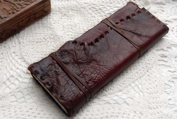 Tall Burgundy Leather Journal / Sketchbook, Hand Embossed, with Hand-Torn Sketching Paper