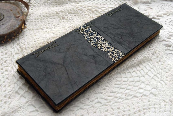 Elongated Tales - Tall Black Leather Journal, Ledger Style, Tea Stained Pages, Fabric Inlay