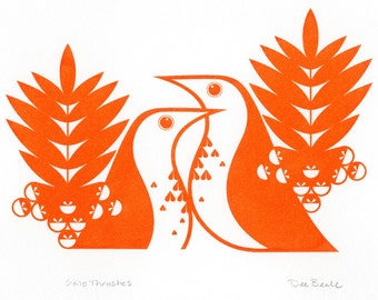 Song Thrushes in Clementine Orange - Hand Pulled, Signed, Gocco Screenprint