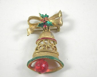 Gerry's Signed Christmas Pin with Enamel and moveable ringer on gold tone Bell Vintage Jewelry