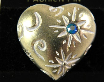 Gold tone Heart Blue Stone and Designs Vintage Jewelry Pin Brooch
