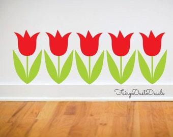Tulip wall decals - set of 5 tulip flower decals - spring wall decor - Tulip Decals - Tulip Flower Wall Decal - Flower Wall Decor - Tulips