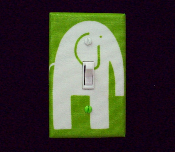 Green Elephant Light Switch Plate Cover By Cathyscraftycovers