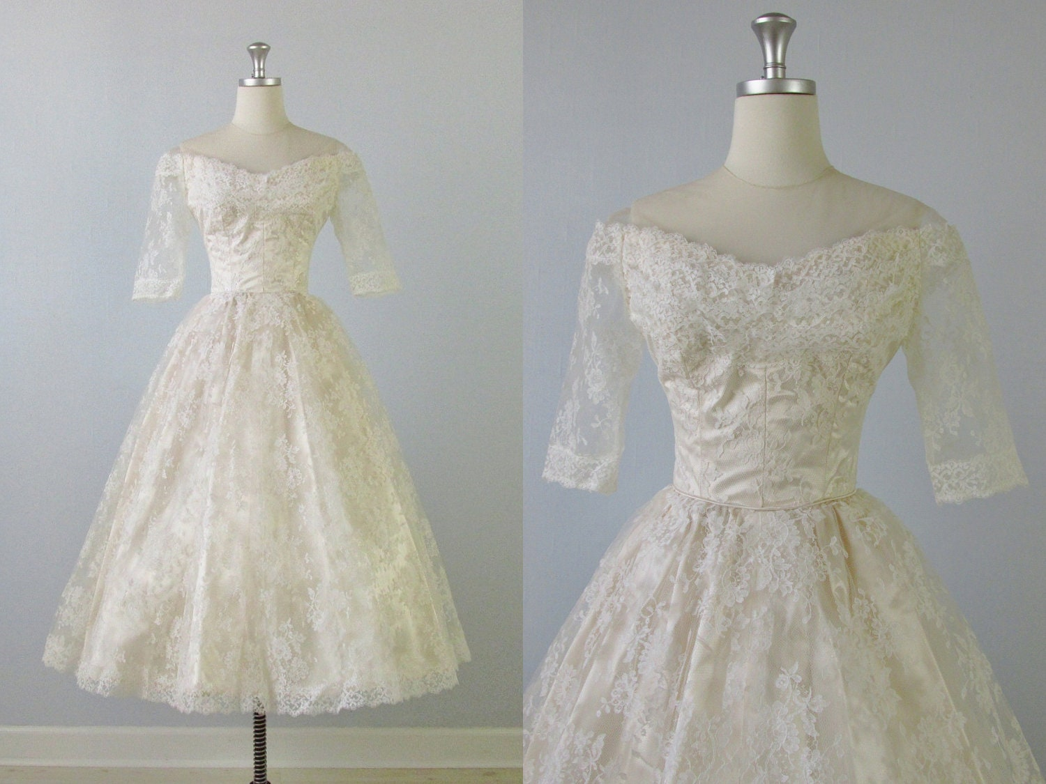 1950s wedding dress 50s tea length wedding dress pearl for 1950 wedding dresses tea length