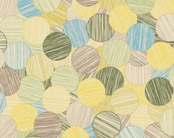 SUMMER SALE - In My Room - Sunday Paper in Green - 1 Yard - by Jenean Morrison for Free Spirit - sku PWJM078-Green