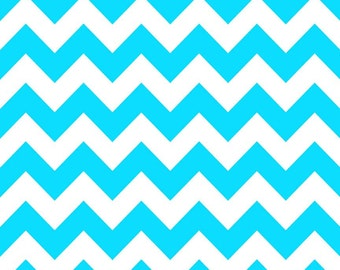 SPRING SALE - Medium Chevron Stripe in Neon Blue - C320-100 - 1 Yard - Riley Blake Designs