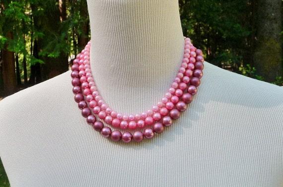 Vintage Pink Beaded Necklace 3 Shades Triple Strand Japan