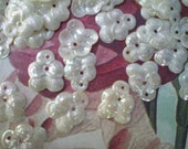 Vintage White Floral AB Pearlized Flower Sequins
