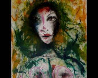 Kelli Dubay Original Fine Art Oil Pigment Stick Portrait Painting Nude Yellow Green Pink Eyes Beauty Succumb paper rag graphite boobs