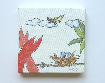 "Original acrylic mini bird's nest painting on canvas, bird art, mini wood easel, 3"" x 3"", gift idea"