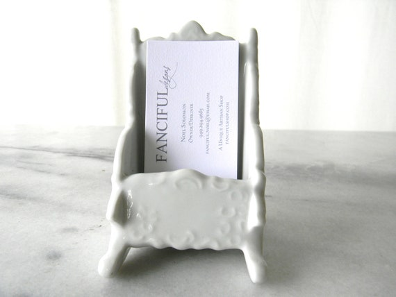 Lovely White Porcelian Business Card Holder