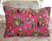 TRAVEL / ACCENT Pillow  - Pink Quilting Kitties Rare Fabric / Satin Back / Includes Faux Down Insert