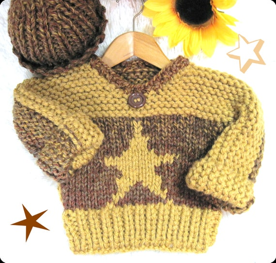 Star Toddler Pullover and Watch Cap  in Bulky Knit Pattern  Child 3 to 8 years old