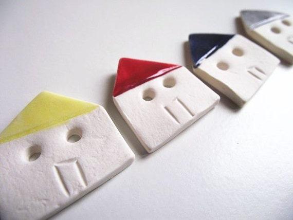 6 Coloured little Houses porcelain buttons