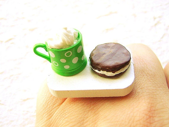 Food  Ring Hot Chocolate Cookie Miniature Food Jewelry SALE
