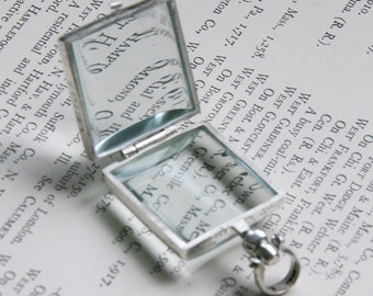 Square Glass Locket Sterling Silver Double Sided